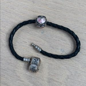Pandora leather braid bracelet w pink heart bead